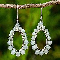 Amazonite dangle earrings, 'Sweet Aura' - Handcrafted Silver Thai Dangle Earrings with Amazonite