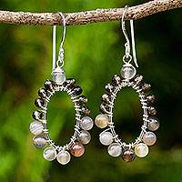Multi-gemstone dangle earrings, 'Enigmatic Aura' - Smoky Quartz Silver Earrings with Agate and Chalcedony