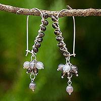 Smoky quartz beaded earrings, 'Bohemian Smoke' - Smoky Quartz Sterling Silver Beaded Earrings with Agate