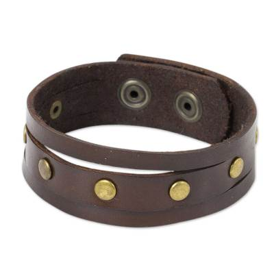 Men's leather wristband bracelet, 'Rustic Brown' - Thai Handmade Brown Leather Bracelet for Men