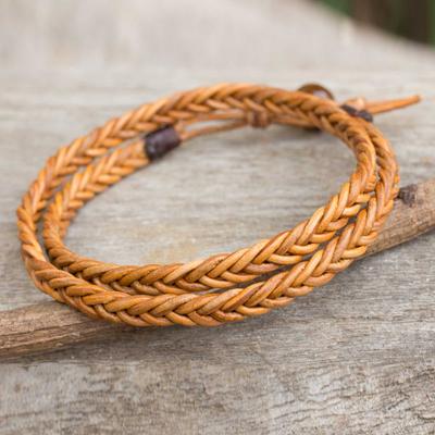 Men's leather wrap bracelet, 'Double Hug' - Golden Brown Leather Braid Wrap Bracelet for Men