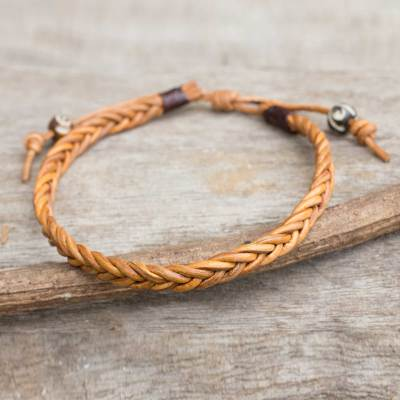 Men S Leather Braided Bracelet Friendship Light Brown From