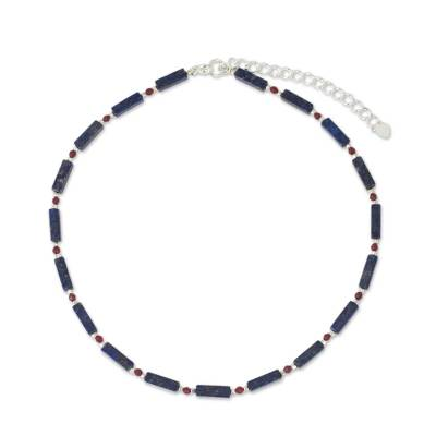 Lapis lazuli beaded necklace, 'Navy Rose' - Lapis Lazuli Red Quartz and Sterling Silver Thai Necklace
