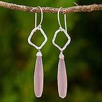 Sterling silver dangle earrings, 'Empowered' - Fair Trade Sterling Silver Earrings with Pink Chalcedony
