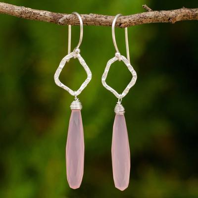Sterling silver dangle earrings, 'Empowered' - Fair Trade Sterling Silver Earrings with Pink Chalcedony