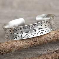 Sterling silver cuff bracelet, 'Karen Mystique' - Sterling Silver Cuff Bracelet Thailand Hill Tribe Jewelry