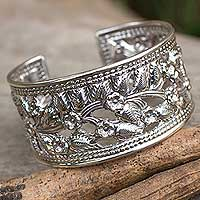 Sterling silver flower cuff bracelet, 'Floral Bliss' - Artisan Crafted Sterling Silver Cuff Bracelet from Thailand