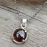 Garnet pendant necklace, 'Bold Moon' - Sterling Silver and Garnet Thai Necklace with Golden Accent