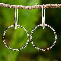 Gold plated dangle earrings, 'Rustic Chic Circles' - Fair Trade Jewelry Gold Plated Sterling Silver Earrings