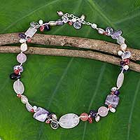 Cultured pearl and multi-gemstone necklace, 'Lilac Whisper'