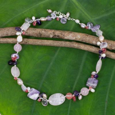 Cultured pearl and multi-gemstone necklace, 'Lilac Whisper' - Hand Knotted Pearl and Multi-Gemstone Necklace