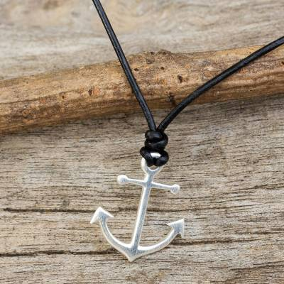 Sterling silver and leather pendant necklace, 'Anchor of Hope' - Thai Sterling Silver and Black Leather Pendant Necklace