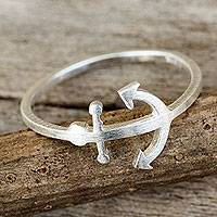 Sterling silver band ring, 'Anchor of Hope'