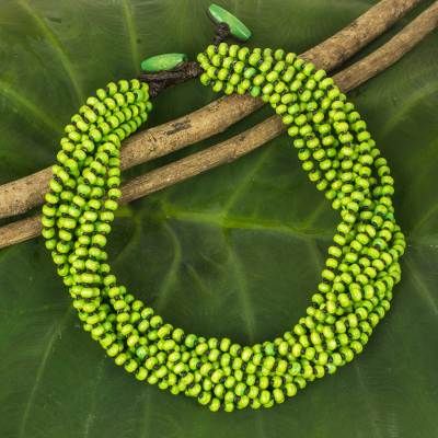 Wood beaded necklace, 'Opulent Chartreuse' - Bright Yellow Green Hand Knotted Beaded Necklace