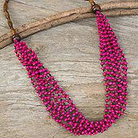 Wood beaded necklace, 'Pink Muse'
