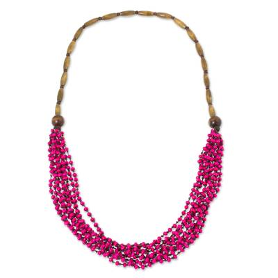 Wood beaded necklace, 'Pink Muse' - Hot Pink Wood Beaded Necklaced Handcrafted in Thailand