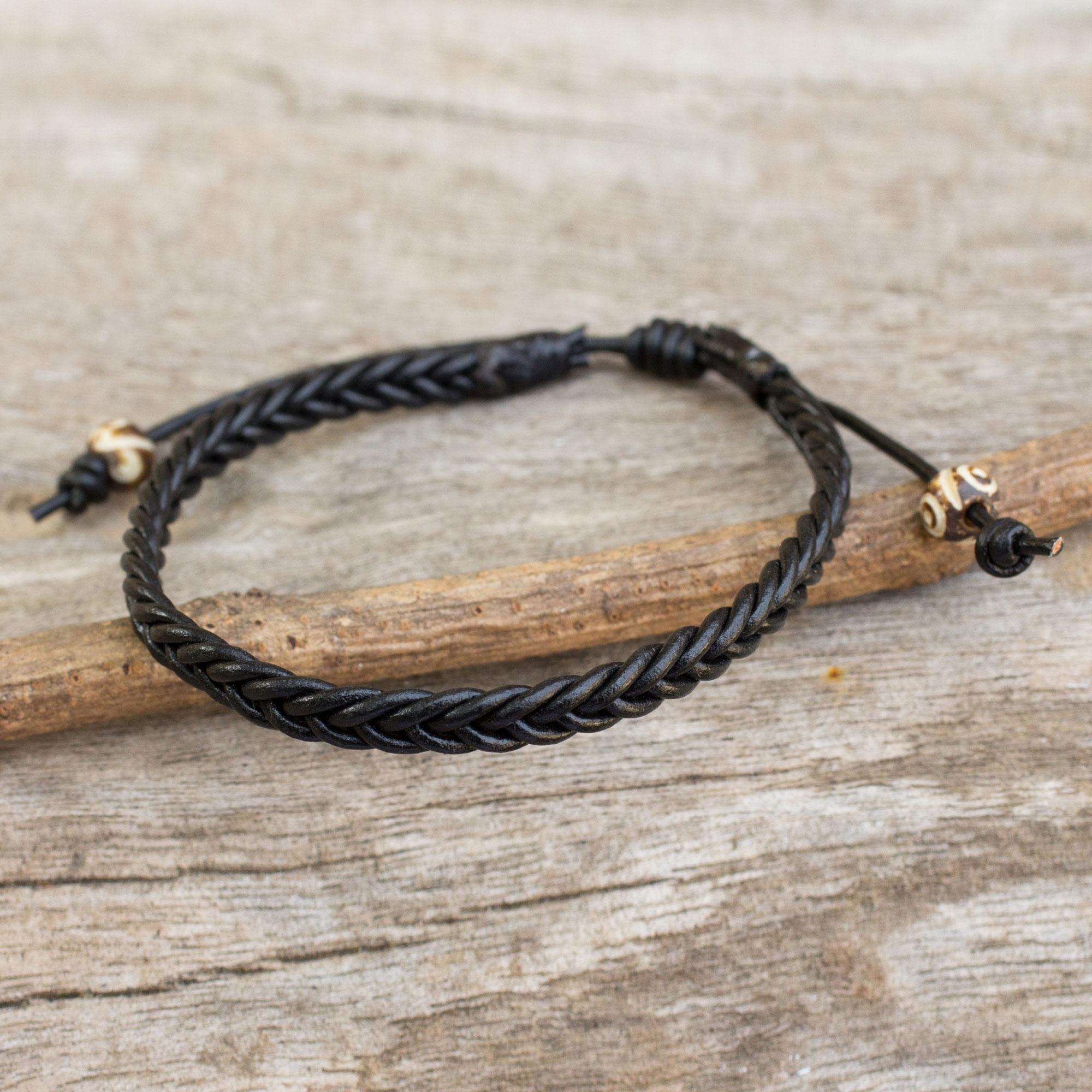 Men S Braided Leather Bracelet Single Black Braid Mens
