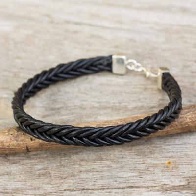 Braided leather bracelet, 'Assertive in Black' - Thai Black Leather Braided Bracelet with Silver Clasp