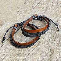Men's leather wristband bracelets, 'Bold Contrast' (pair) - Brown Leather and Black Cotton Bracelets for Men (Pair)