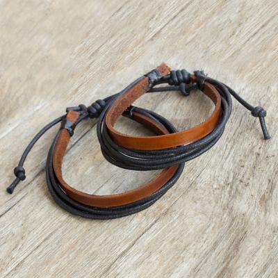 Men's leather wristband bracelets, 'Bold Contrast' (pair) - Brown Leather and Black Cotton Bracelets for Men (Pair)