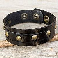 Men's leather wristband bracelet, 'Rustic Black' - Handcrafted Thai Black Leather Bracelet for Men