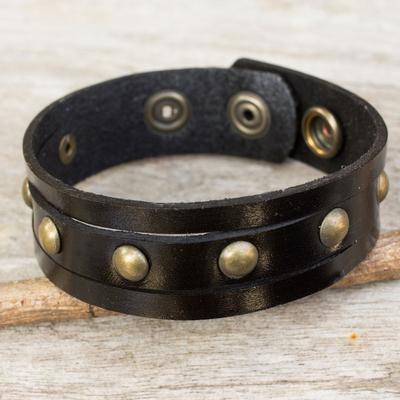 Men's leather wristband bracelet, 'Rustic Black' - Handcrafted Thai Black Leather Bracelet for Men