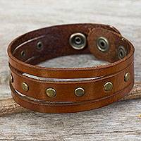 Men's leather wristband bracelet, 'Rustic Russet'