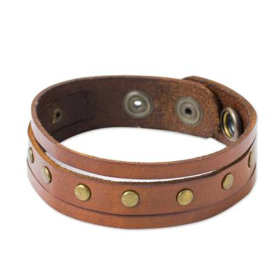 Men's leather wristband bracelet, 'Rustic Russet' - Fair Trade Thai Russet Brown Leather Bracelet for Men