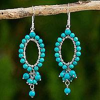 Calcite beaded earrings, 'Meadow Stars' - Turquoise Color Calcite Beaded Earrings Thai Artisan Jewelry