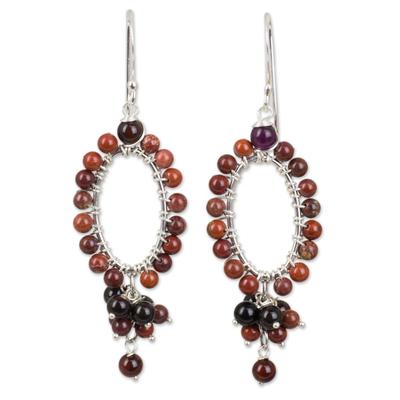 Jasper and onyx beaded earrings, 'Meadow Star' - Jasper and Onyx on Sterling Silver Earrings from Thailand