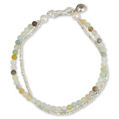 Amazonite and cultured pearl beaded bracelet, 'Ethnic Fantasy' - Handmade Amazonite Pearl and Hill Tribe Silver Bracelet
