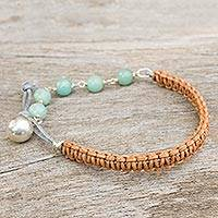 Leather and amazonite beaded bracelet, 'Fantasy Eclipse' - Amazonite and Silver on Leather Beaded Bracelet
