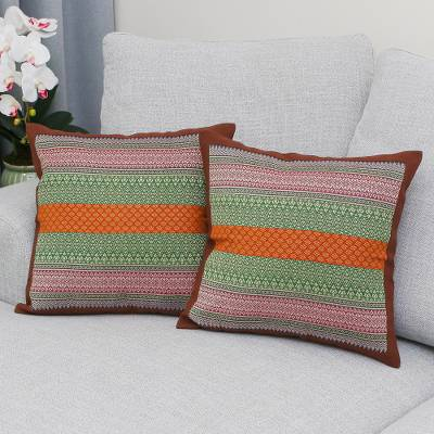 Cotton cushion covers, 'Enchanted Thai Meadow' (pair) - Colorful Handwoven Cushion Covers with Brown Borders (Pair)