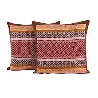 Cotton cushion covers, 'Chiang Rai Flowers' (pair)