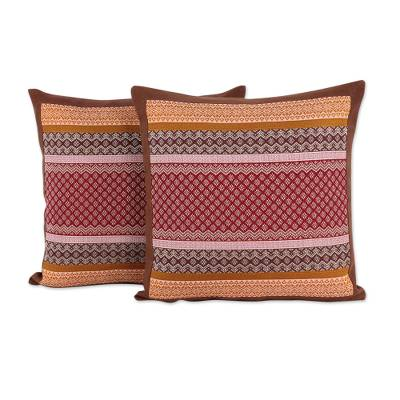 Cotton cushion covers, 'Chiang Rai Flowers' (pair) - Red and Orange Thai Brocade Cotton Cushion Covers (Pair)