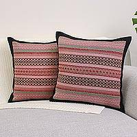 Cotton cushion covers, 'Enchanted Thai Orchids' (pair) - Handwoven Thai Cushion Covers in Pink and Red (Pair)