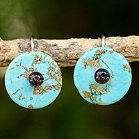 Calcite and garnet drop earrings, 'Bohemian Moons' - Garnet on Turquoise Color Calcite Hand Made Earrings