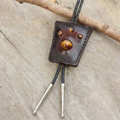 Tiger's eye and leather bolo tie, 'Earth Medallion' - Handcrafted Brown Leather Bolo Tie with Tiger's Eye