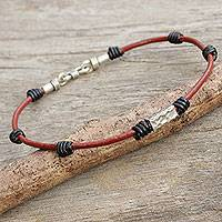 Men's silver accent leather wristband bracelet, 'Forthright' - Thai Silver Accent Men's Brown Leather Bracelet