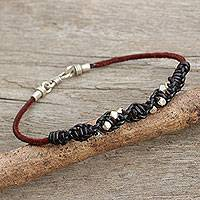 Men's leather and silver braided bracelet, 'Decisive Black' - Hill Tribe Silver Men's Leather Macrame Bracelet