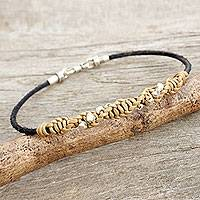 Men's leather and silver braided bracelet, 'Decisive Tan' - Hill Tribe Silver and Tan Leather Men's Bracelet
