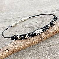 Men's leather and silver braided bracelet, 'Brave in Black' - Hill Tribe Silver Bracelet in Macrame Black Leather for Men