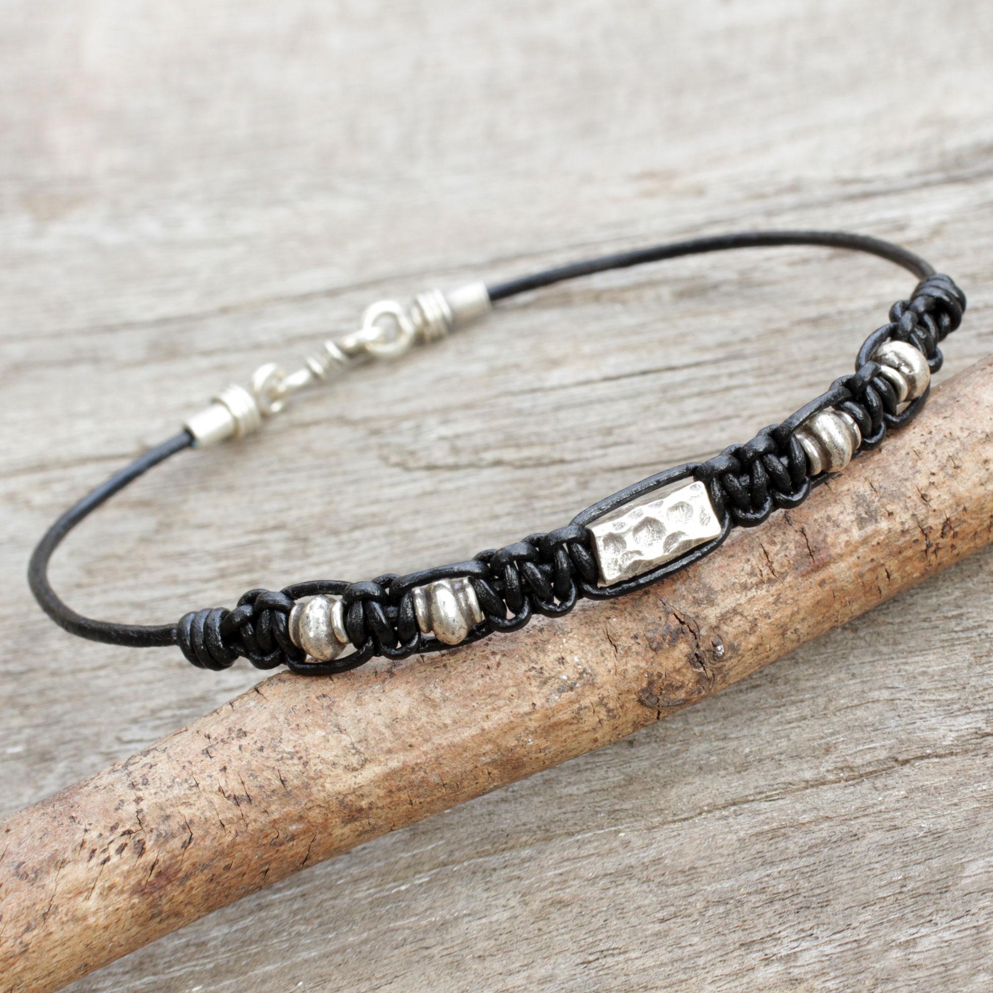 Hill Tribe Silver Bracelet In Macrame Black Leather For Men  Brave In  Black  Novica
