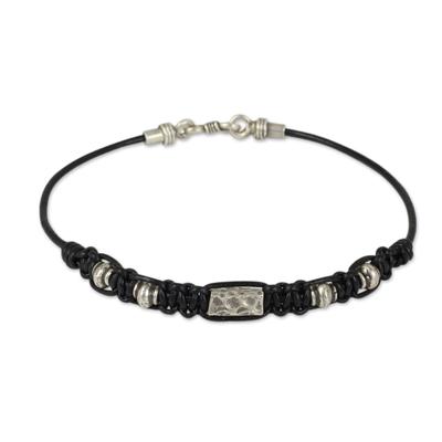 Hill Tribe Silver Bracelet in Macrame Black Leather for Men