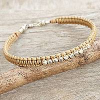 Leather and silver braided bracelet, 'Desert Stars' - Tan Leather Braided Bracelet with Hill Tribe Silver