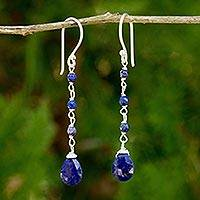 Lapis lazuli dangle earrings, 'Lady'