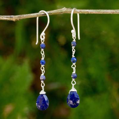 Lapis lazuli dangle earrings, 'Lady' - Fair Trade Handmade Lapis Lazuli Dangle Earrings