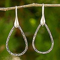 Sterling silver dangle earrings, 'Rustic Chic Raindrops' - Artisan Crafted Jewelry Sterling Silver Earrings