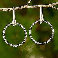 Sterling silver dangle earrings, 'Rustic Chic Circles' - Fair Trade Artisan Jewelry Sterling Silver Earrings