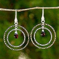 Gold plated garnet dangle earrings, 'Rippling Beauty' - Garnet on Sterling Silver and Gold Plated Earrings